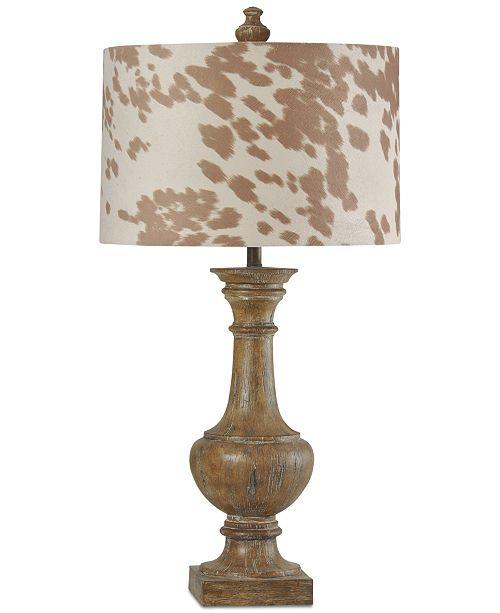 StyleCraft Baluster Cotton Wood Table Lamp