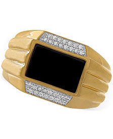 Men's Onyx & Diamond (1/6 ct. t.w.) Ring in 10k Gold