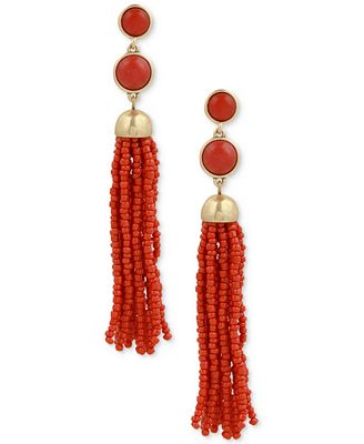 Lucky Brand Stone & Bead Tassel Drop Earrings