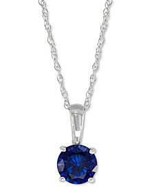 Lab-Created Sapphire Pendant Necklace (5/8 ct. t.w.) in 14k White Gold