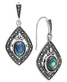 Marcasite and Paua Shell Drop Earrings in Silver-Plate