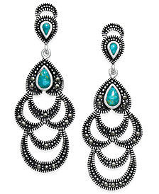 Manufactured Turquoise & Marcasite Scalloped Dangle Drop Earrings