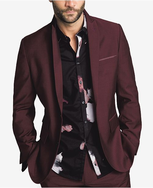 INC International Concepts I.N.C. Men's Slim-Fit Burgundy Blazer, Created for Macy's