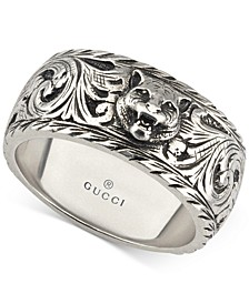 Men's Sterling Silver Cat Head Patterned Band