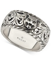 4a62c55ac Gucci Men's Sterling Silver Cat Head Patterned Band YBC433571001021