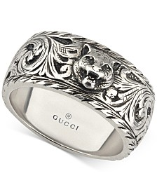 Gucci Men's Sterling Silver Cat Head Patterned Band YBC433571001021