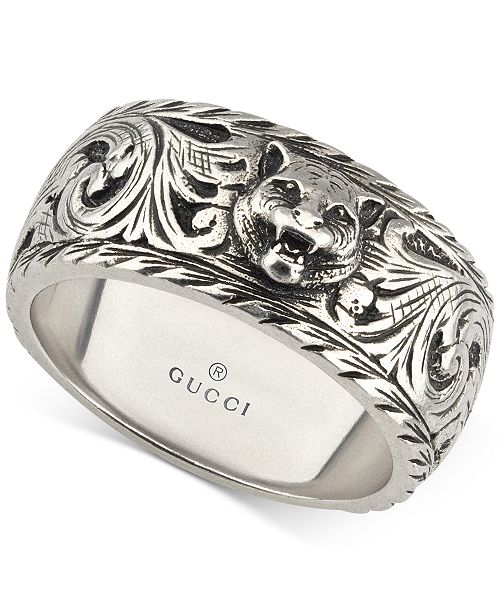 7bb0579eff73d Gucci Men s Sterling Silver Cat Head Patterned Band YBC433571001021 ...