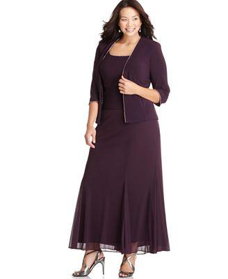 Alex Evenings Plus Size Dress and Jacket Rhinestone Trim Evening