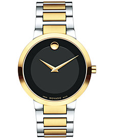 Movado Men's Modern Classic Two-Tone PVD Stainless Steel Bracelet Watch 39mm 0607120
