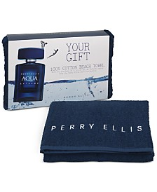 Receive a Complimentary Towel with any large spray purchase from the Perry Ellis Men's fragrance collection