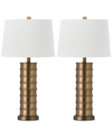 Set of 2 Linus Brass Column Table Lamps