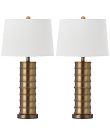 Safavieh Set of 2 Linus Brass Column Table Lamps