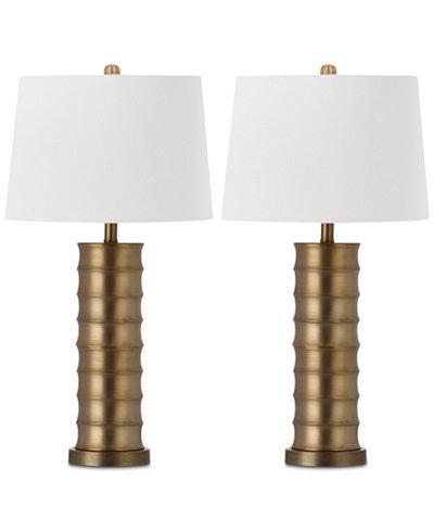 Safavieh Set of 2 Linus Brass Column Table Lamps
