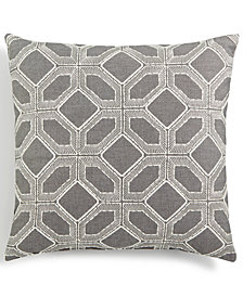 """LAST ACT! Hallmart Collectibles Gray Embroidered Geo 18"""" Square Decorative Pillow"""