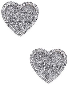 Diamond Glitter Heart Stud Earrings (1/4 ct. t.w.) in Sterling Silver