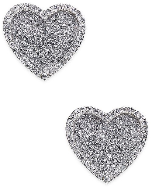 Macy's Diamond Glitter Heart Stud Earrings (1/4 ct. t.w.) in Sterling Silver