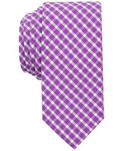 Bar III Men's Mulberry Check Skinny Tie, Created for Macy's