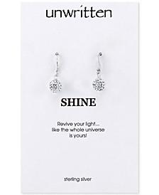 Sterling Silver Earrings, Crystal Pave Drop Earrings