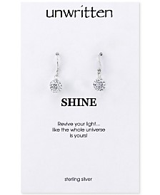 Unwritten Sterling Silver Earrings, Crystal Pave Drop Earrings