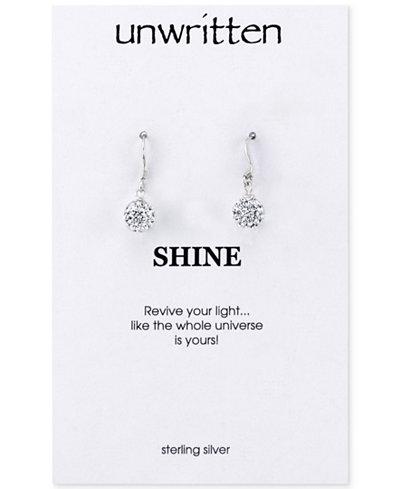 Unwritten Sterling Silver Earrings, Crystal Pave Drop Earrings