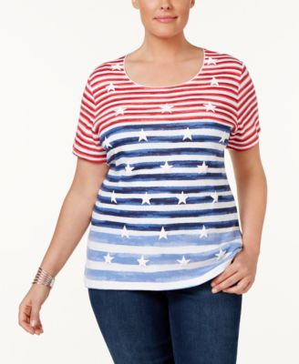 Karen Scott Plus Size Star-Print Striped Top, Only at Macy's