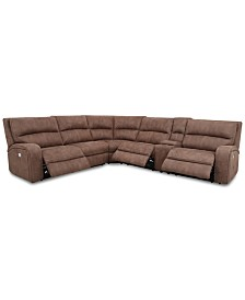 Brant 6-Pc. Fabric Sectional Sofa with 2 Power Recliners, Power Headrests, Console and USB Power Outlet