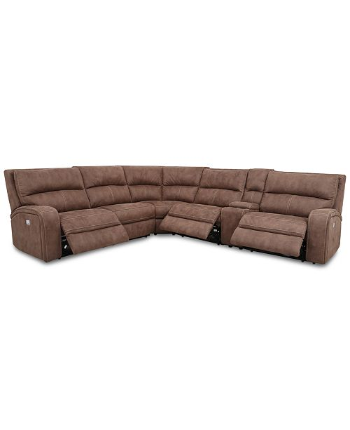 Furniture CLOSEOUT! Brant 6-Pc. Fabric Sectional Sofa with 2 Power Recliners, Power Headrests, Console and USB Power Outlet