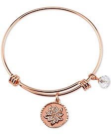 Message Charm Bangle Bracelet in Rose Gold-Tone Stainless Steel with Silver-Plated Charms