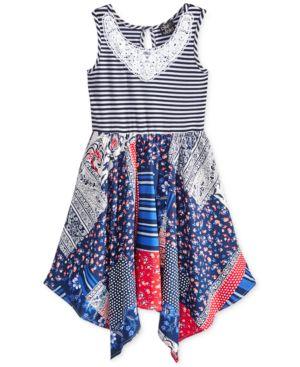 Pink & Violet Americana Lace Trim Multi-Print Dress, Toddler & Little Girls (2T-6X) 4584604