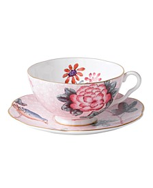 Pink Cuckoo Teacup and Saucer