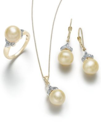 Cultured Golden South Sea Pearl (9mm) and Diamond Accent Pendant Necklace in 14k Gold