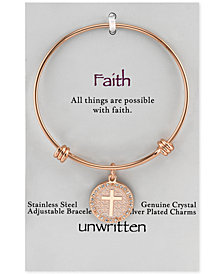 Unwritten Cross Disc Charm Bangle Bracelet in Rose Gold-Tone Stainless Steel