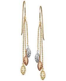 Tri-Color Beaded Chain Drop Earrings in 10k Gold, White Gold & Rose Gold