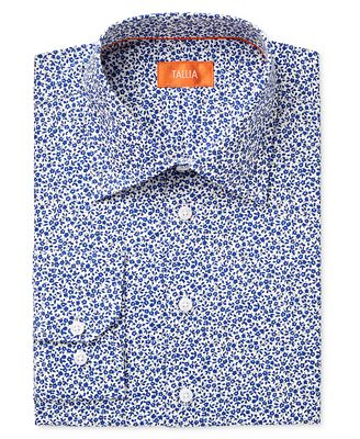 Tallia Men's Fitted Small Floral Printed Ground Dress Shirt ...