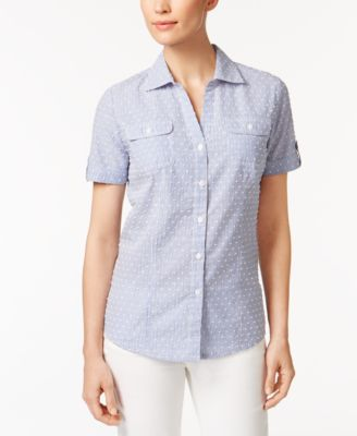 Image of Karen Scott Printed Cotton Shirt, Only at Macy's