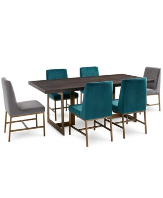 Cambridge Dining Furniture, 7-Pc. Set (Dining Table, Teal & Grey Side Chairs), Created for Macy's