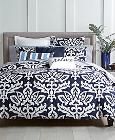 Charter Club Damask Designs Supima Cotton Navy 2-Pc. Twin Duvet Set, Created for Macy's