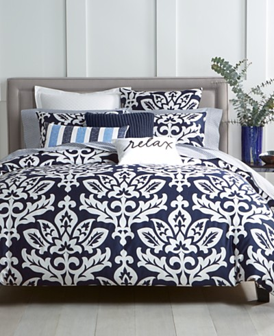 Charter Club Damask Designs Navy Comforter Sets, Created for Macy's