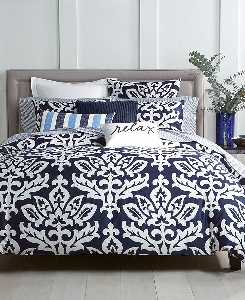 Charter Club Navy 3 Pc Full Queen Comforter Set Created