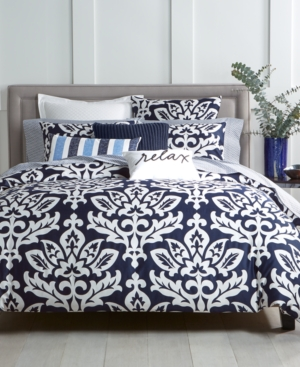 Charter Club Damask Designs Supima Cotton Navy 3Pc King Duvet Set Created for Macys Bedding