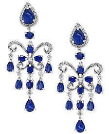 Final Call by EFFY® Sapphire (7-1/2 ct. t.w.) & Diamond (5/8 ct. t.w.) Chandelier Earrings in 14k White Gold