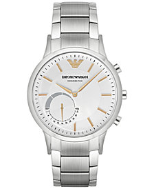 Emporio Armani Men's Renato Stainless Steel Bracelet Hybrid Smart Watch 43mm ART3005