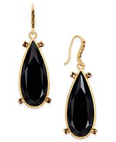 INC International Concepts Gold-Tone Large Stone Drop Earrings, Created for Macy's