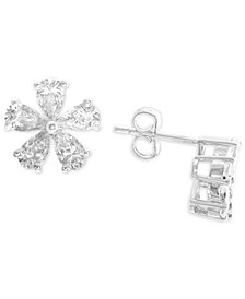 Cubic Zirconia (3c.t.t.w.) Floral Stud Earrings in Sterling Silver