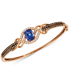 Le Vian Chocolatier® Blueberry Tanzanite® (2 ct. t.w.) & Diamond (1-3/8 ct. t.w.) Bangle Bracelet in 14k Rose Gold