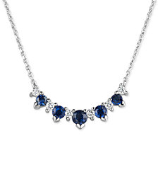 Sapphire (3/4 ct. t.w.) & Diamond (1/5 ct. t.w.) Necklace in 14k White Gold