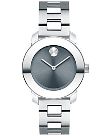 Movado Women's Swiss Bold Stainless Steel Bracelet Watch 30mm 3600436