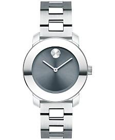 Movado Women's Swiss Bold Stainless Steel Bracelet Watch 30mm 3600436