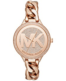 Women's Outlets Rose Gold-Tone Stainless Steel Chain Bracelet Watch 38mm MK3475