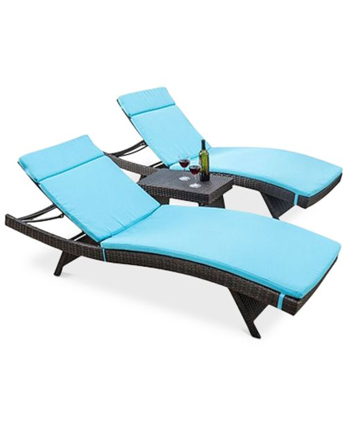 Noble House Farron Chaise Lounger and Table 3-Pc. Set, Quick Ship